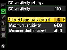 Nikon Auto ISO settings
