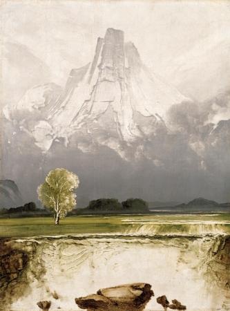Peder Balke - Stetind with birch